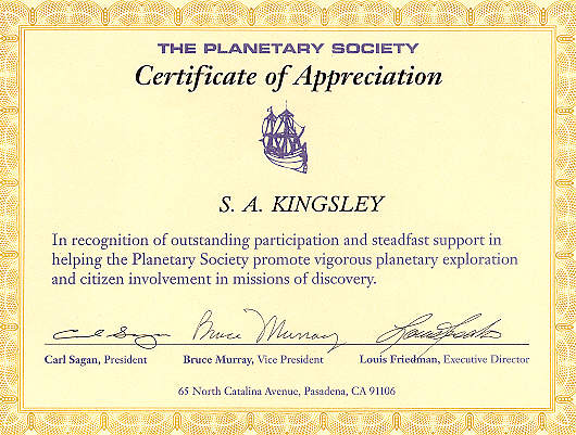 The Planetary Society Certificate of Appreciation